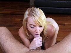 Cutie Carmen keeps her sexy thighs spread and rubs that pink sweet cunt between them like a naughty girl. She wants to make me horny and succeeds. Now that my cock is hard she kneels and opens her pretty mouth to blow me. Yeah look at her how good she does that head and how much pleasure she takes.
