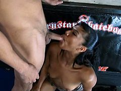 See the lovely ebony slut Emy Reyes gagging herself on her man's white dong in this spectacularly sexy video.