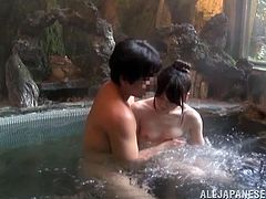 This sexy Japanese couple are enjoying the hot spring. They hop out of the hot spring and the man washes his wife's body. He spreads her legs and plays with her pussy. He then shaves her cunt and makes it nice and smooth. After all that the two head back into the hot spring for some action!