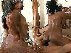 See the nice threesome sex with Kaleah, Misty Stone and Reno. Two exciting nymphs are going to share big throbbing cock of the pal between their sweet loving holes.