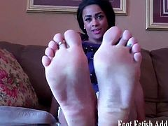 I want to see just how much you love my hot little feet, so take out you dick and jerk it for me. Stroke your big hard man meat up and down, imagining me here next to you, rubbing your cock with my feet.