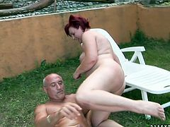 This pink-haired slut loves a good, hard fuck. She takes that rock hard dick up her juicy pussy and rides it like mad. Then she gets into sideways position to let him control the penetration.