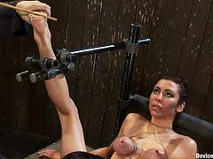 Miss Love is a brunette mom that likes it rough. She gets her pussy licked and fingered by this mistress and then the executor takes it from there. After the whore warmed her up and made that snatch soaking wet, he slides his dick between her pussy lips and gives her a hard drilling. What's next?