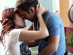 Adorable redhead Christine Paradise gives her boyfriend a nice blowjob