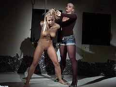 Spoiled light haired Kathia ties up svelte submissive blondie with ropes