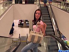 Kinky slim brunette in jeans and light pink top leaves the mall. Spoiled and horny chick unzips jeans right on the green lawn and rubs her wet pussy for some delight outdoors.