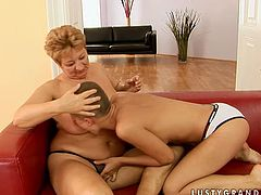 Kinky hooker with sexy fresh body is going kinky in hot old young lesbian sex scene. She goes down on horny granny eating and finger fucking her hard.