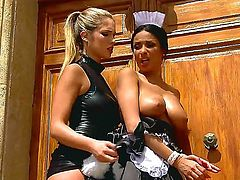 Dreamy babe Anissa punishes gorgeous Eva by beating  and humiliating her in between shifts. After a nice round of spanking she is forced to lick out a shaved pussy and gets her boobs stimulated.