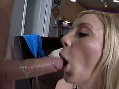 Arousing young blonde bimbo Amy Brooke with natural tits and smoking hot body in short white skirt and high heels gets big round ass stuffed with toys and boned deep.