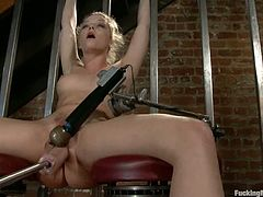 Charming blonde Alexis Texas is having some fun on the stairs. She fingers her honeyed pussy and then gets it pounded by a fucking machine.