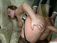 This smoking hot babe is the hero of this BDSM perversion. Babe gets tied up and two dudes go wild deep in her wet snatch!