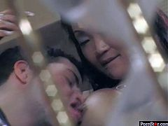 Skanky Asian whore in raunchy red lingerie and stockings makes out with a horny biker. She widens her legs letting him tongue fuck her moist cunt before they switch the roles and she pleases him with blowjob.