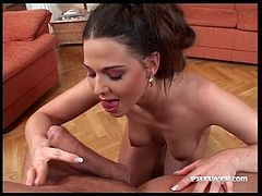 Sexy Simony Diamond gives head to big cock