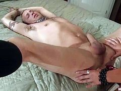 Billy is having fun with dominant hussy Gwen Diamond in a bedroom. Gwen tortures the dude and then plays with his dick and destroys his butt with a dildo.