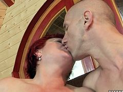 Sex greedy fat red-haired mom seduces inexperienced young wanker. She gives him a blowjob before she lies on the couch with legs wide open to get her pussy eaten.
