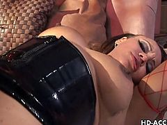 Mone and Misty Stone are the horniest bitches that you will ever see and here you will be seeing them in some of the wildest  lesbian pleasures,right here folks! Take a long look at stockings, fishnet, ebony, lesbian and dildo sex movie.