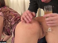 Henessy is a young girl who's on a home date with her lover. He serves her champagne before he serves her his throbbing cock and fucks her tight ass hole on the floor.