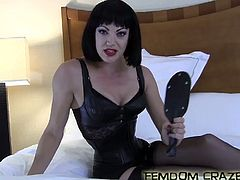 Natalie Laine is a dominant woman and is looking for a new, pathetic little slave. The last one she had wasn't any good and she is looking for someone to humiliate and completely dominate. You will pay her bills, do her laundry, take her shopping, clean her house, lick her dirty feet clean and basically do anything she asks. Natalie is going to test your servitude and she demands that you get down on all fours and start licking the floor with your tongue, right be her feet and she looks down on you. Now she wants you to pull your pants down and smack your ass while she laughs at you!
