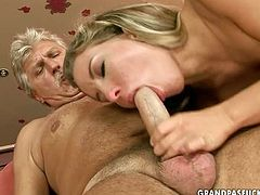 Wondrous blondie gives a nice blowjob to old gardener