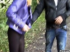 This blonde gets picked up and agrees to have sex with this guy out in the woods in public and gets naked, sucks on his cock and then gets her ass pounded and pussy fingered. Then he jacks off all over her face giving her a messy facial