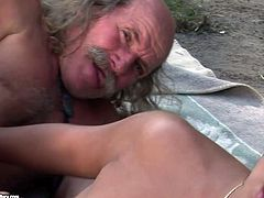 This torrid brunette wants to get really wild with this old man's cock. She takes it up her juicy fanny and rides it in cowgirl position. Then she lets him get a taste of her delicious pussy. A few positions later she gets her muff fucked in sideways pose.