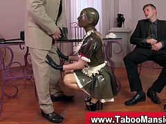 Watch a vicious maid wearing a latex mask while flaunting her ass and licking her master's feet. Then she's ready for her mouth to be banged deep and hard.