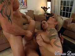 Busty sluts are having the same dick stroking them in wild threesome porn