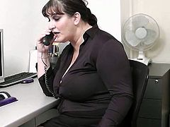 Huge bitch wants to get the job easier so she sucked off her boss and took his cock deep inside her fat cunt like a real nympho!