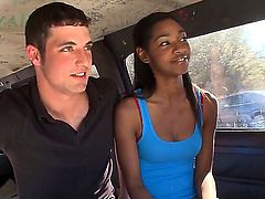 Pretty white pal tries to seduce cool ebony chick to have nice screw with him right in a bang bus. She is not against of being nailed in the bus and now you could see whole stuff.