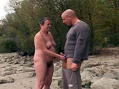 Nice hardcore outdoor granny video.In this video you will see horny granny with hairy pussy sucking fat cock and getting hard fucked by a young stud.Enjoy this hairy granny getting drilled.