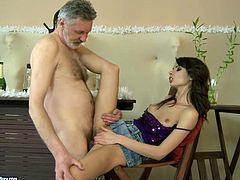 Slutty girl is having an affair with old perverted guy. He licks her all over and eats her soaking pussy. Then she is penetrated in a missionary position and pounded hard.