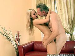 Cuddly girl with fresh young body is extremely seductive woman. She is fucking passionately in steamy old young fuck scene. Lovely babe is getting pounded actively in a missionary sex position.