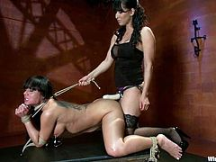 Gorgeous brunette girl gets tied up by her mistress. Slave girl sucks a dildo and gets toyed with a strap-on. Later on she also gets tortured with clothespins and toyed with a huge dildo.