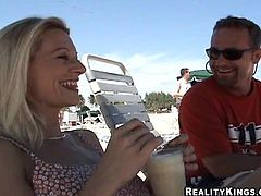 This blonde MILF met some guy on the beach and she wants somebody to fuck the living hell out of her. Check it out.