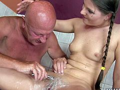 Naughty wench gets her shaved pussy eaten by her old lover