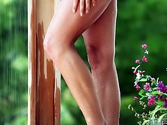 Beautiful angel Amber Sym masturbates outdoor while taking a shower