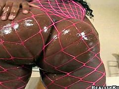 Salacious black chick Madison and her nasty GF wearing fishnet bodystockings are having fun with two dudes. They please them with blowjobs and then ride their schlongs like never before.