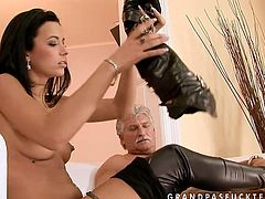 Knock-out brunette porn model has got long legs, tempting body curves, appetizing tits and beautiful face. She is simply stunning woman. Enjoy watching her fucking old grandpa in steamy porn scene produced by 21 Sextury.