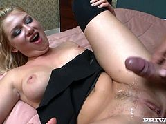 Superb blonde chick on high heels gets fucked deep in her vagina. Later on she gives deepthroat blowjob and then takes big dick in her ass.