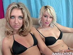 Voracious Caucasian hooker Brittany Angel is sitting on a couch wearing black bikini. Her friend that looks much alike Brittany is sitting next to her. Later in the clip, they both gets rid on swim wear demonstrating their bodies.