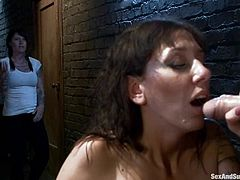 Brunette girl with big boobs gets tied up with ropes. After that she gets her pussy licked and fucked hard by Mark Davis.