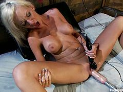 Hot blonde sucks a dildo and gets toyed in both holes