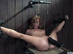 This dirty slut has her legs spread wide open with rope and then an electric dildo shoved in her cunt. Watch this dirty slut get pounded so very hard. What a bad girl she is. Her nipples are stretched on string.