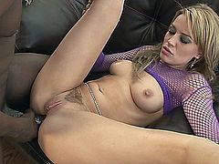 Holly Wellin is one hot blonde who craves a man's spunk like a cold milkshake on a hot day. Watch as she gets her pussy eaten out and her juices flowing, then as she attacks this guy's monster meat. She lets her pussy lube up the cock for the deep anal penetration that leave her gaping big hole and a faceful of spunk.