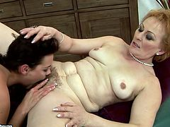 Extremely perverted mature woman wants her lesbian friend's playful tongue in her hairy pussy. She spreads her legs wide to let her get a taste of her snatch. Check out this awesome sex scene now to see what else these naked lesbains are up to.