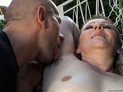 You sex hungry soldier gives tongue fuck to hairy vagina of short haired ardent mature before she squats down in front of him to give him a thorough blowjob in steamy sex video by 21 Sextury.