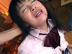 Sexy Japanese chick is swallowing cumshot