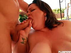 Watch this sexy big tits and big ass brunette bbw getting her ass spanked by two naughty and horny guys who sucks her big tits and fucks her mouth and big pussy hard in this hot threesome outdoor video.