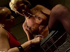 Ruined blond MILF gets her hand tied by insatiable mistress before she attaches metal pins to her oversized tits and shabby looking cunt in BDSM-involved se xvideo by 21 Sextury.