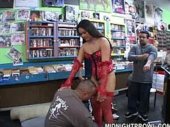 Well stacked brunette Ashley is flirting with shop assistant
